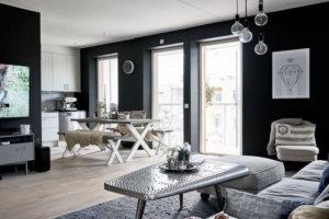 自然光が入る領域が明確で、家具が壁の色よりも明るいことが不可欠です。最も暗いコーナーに明るさを提供するために、これらの写真、フィルム、写真の付属品は、等しく透明でなければなりません。