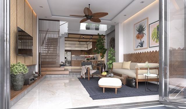 独自のシーリングファンは、物事は、この熱帯のリビングルームでクールに保ちます。鉢植えの植物は、レイアウト全体に広がっているだけでなく、ソファの上にぶら下がっている壁の芸術に描かれています。この風通しの良いリビングルームの素朴な魅力の一部は、しかし、間違いなくアクセントの壁にユニークな、ヘリンボーンの木のデザインのおかげです。