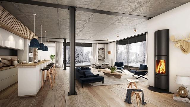 広い板のフローリングのように、自然に仕上げられた木材は、オープンコンセプトのリビングルームで物事を美しく風通しのよいものに保ちます。ネイビーブルーのカウチとペンダントライトは、特に冬のワンダーランドとは対照的に、ちょうどいい量の色を提供します。