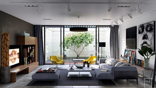 このアトリウムは、最後のステージのように中央のステージを盗むことはありませんが、この都市のリビングルームに自然の雰囲気を追加します。モダンなグレーのソファー、白黒の壁画、明るい黄色の椅子、薄型テレビが備わるこのモダンな家には、実用的でスタイリッシュな両方がうらやましいほどに混在しています。