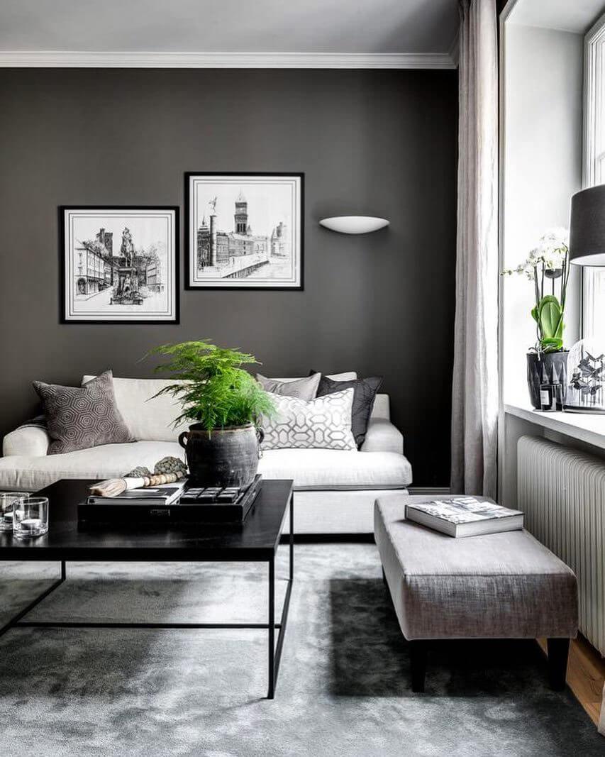 白いソファーにクッションでアクセントをつけています。リビングテーブルはブラックです。観葉植物を2つ置いて統一感があります。家の飾り方も個性的でおしゃれですね。