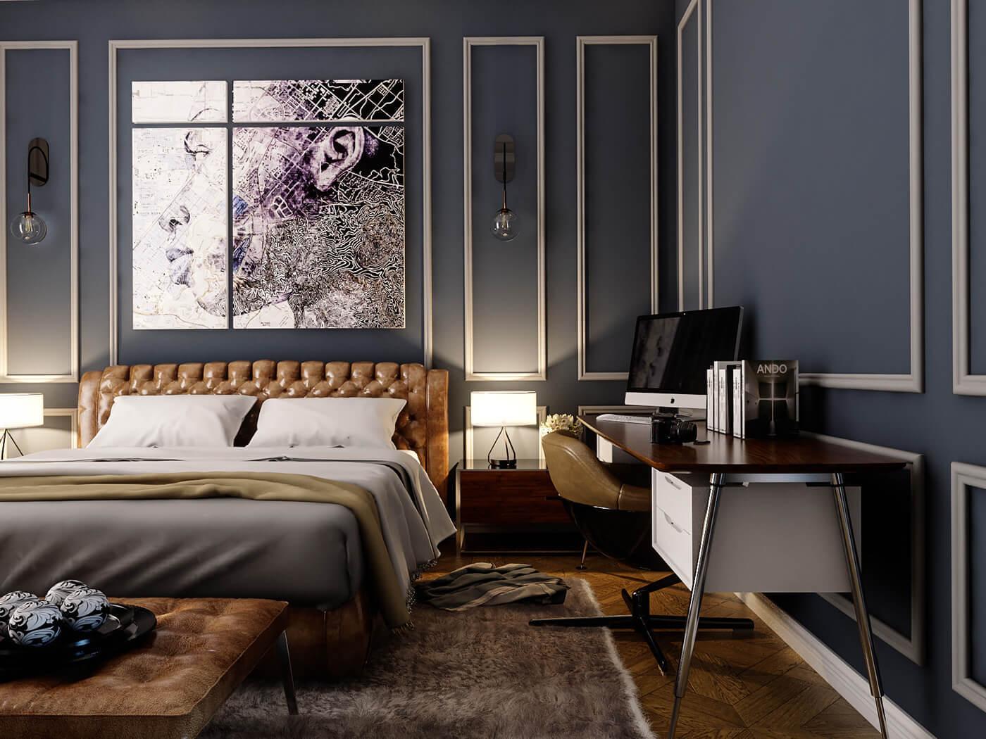 キャメルレザーのベッドフレームにクラシカルな内装のギャップが素敵です。