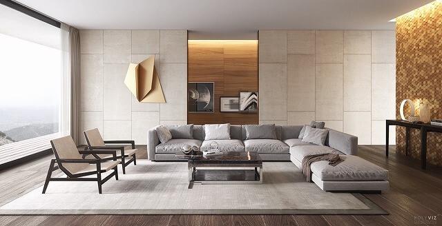 この白と金色のリビングルームでセンターステージを盗むのは、大型のモダンなソファーです。このソファーはスペースを完全に満たすだけでなく、それはこのアールデコ様式の影響を受けたリビングルームの中で最大の座席を可能にします。