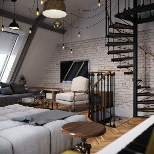 屋根裏部屋を改造した床がヘリンボーンを使っている海外インテリア事例。