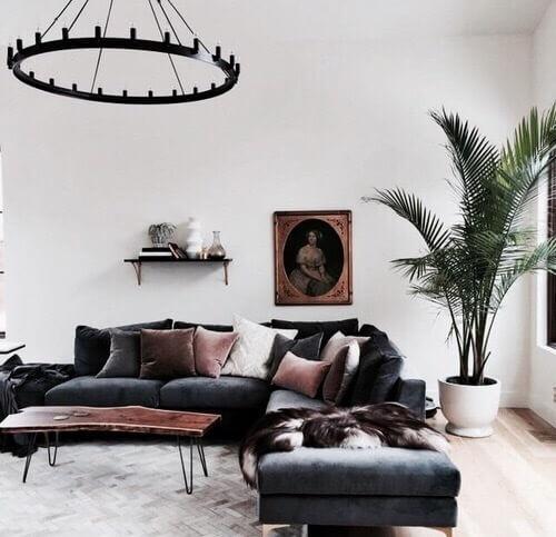 明るい床のフローリングと背の高い観葉植物にダークグレーのそばでコーディネートされています。リビングテーブルは1枚板のテーブルを使用しています。クッションでカラフルにコーディネートしていますね。