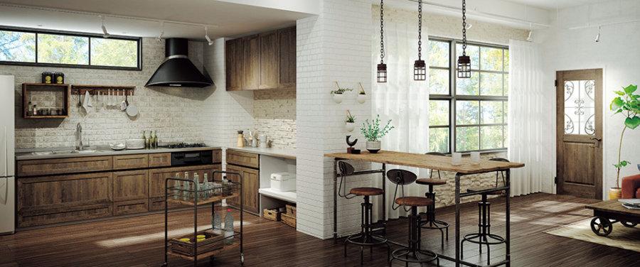 まるで昔からそこにあったような佇まいのドアとキッチンで トータルコーディネイトされた、優しく、自然な風合いの空間は、 家族のゆったりとした時間を演出します。