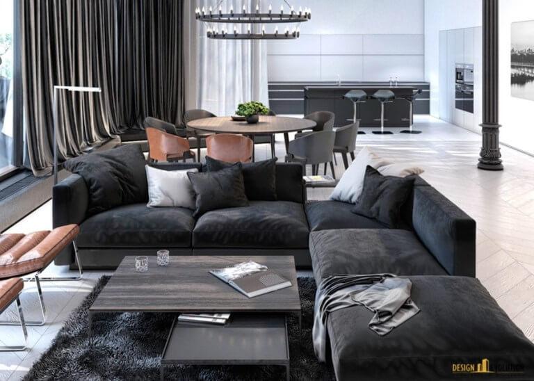 床がヘリンボーンで色はホワイト。ソファーはダークグレイを使用している。リビングチェアはキャメルレザーを使用しています。