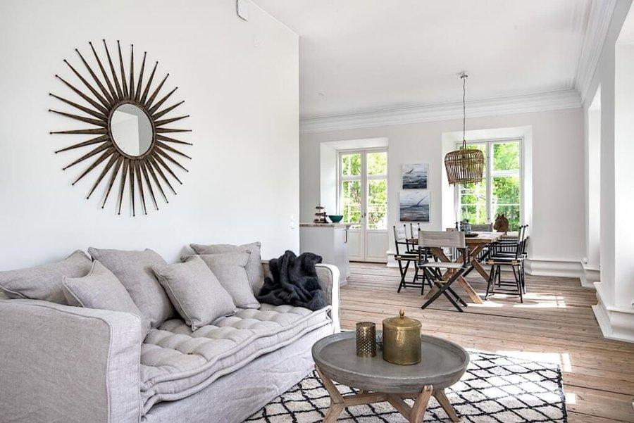 ライトブラウンカラーのフローリングに真っ白な壁で明るい空間です。ライトグレーのソファーも部屋にしっかりと馴染んでいます。ラスティックモダンスタイルのインテリアと言えるでしょう。ミラーやペンダントランプが木の素朴な印象で個性的です。