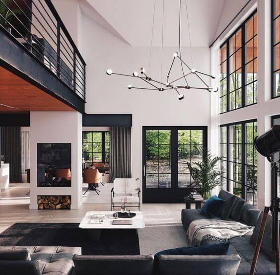 黒い鉄骨とダークグレーのソファが空間を引き締めています。