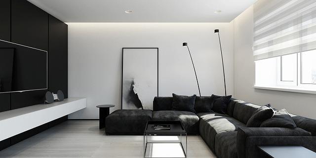 ソファーの背後にあるシンプルなビジュアルが微妙な謎の空気を放つが、残りの部屋は透明でオープンである
