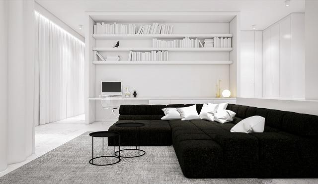 部屋を大きく見えるようにするために、デザイナーは鮮明な白い壁を使用しました。その後、天才のストロークで、他のすべてが白くなった。大きな黒いモダンなソファといくつかの黒い飾りは劇的なコントラストですが、灰色のカーペットはしっかりしたベースを提供し、コントラストの一部を和らげます。