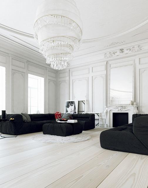 ヴィンテージグラマーにインスパイアされた次のリビングルームは、スタイリッシュな白いクラウンモールド壁と素晴らしい魅力的な白いシャンデリアを特徴としています。大胆な黒いソファの後ろで古典的なデザインテクニックに敬意を表します。赤いバラのブーケは、効果を損なうことなく部屋に色を加えます。