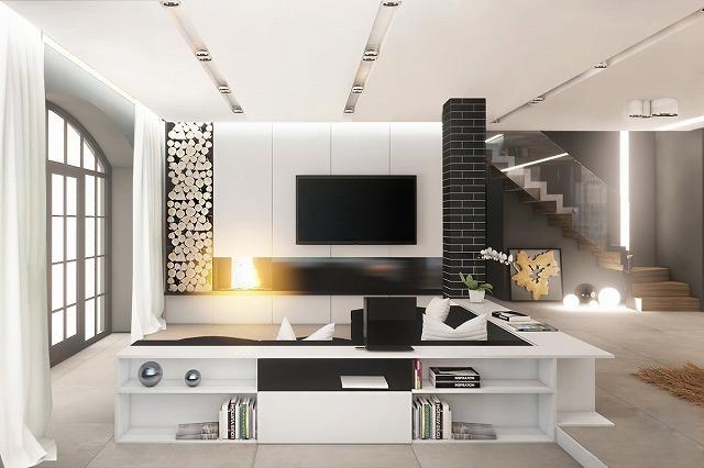 黒と白のリビングルームのインテリアを使用することで、未知の未知の世界にあなた自身を広げています。部屋は大胆で美しい。黒いレンガの壁と灰色の地色から、スタイルとクラスだけが滲み出てきます。白と黒の家具が古典的で定義されている間、大きな窓は都会のロフトオーラを放つ。