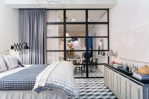 タイルの床を使った寝室のイメージ