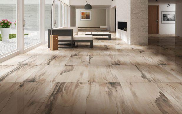 タイルに柄が不規則にあり空間全体に症状があり個性的です。このような床の場合は家具をシンプルにしておかないとぶつかってしまいます。