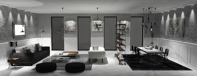 露出したレンガの壁と薄い金属製の棚は、ガラスパネル、芸術作品と幾何学的棚がより現代的で芸術的である一方、このオープンプランのアパートにわずかな工業的感覚を与えます。これらの要素は、多様で統一された部屋を作成するために協力しています。