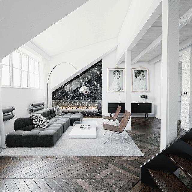 この部屋は、灰色の色調をそのカラーパレットに取り入れています。この部屋は比較的小さく、モノクロの色はより広々とした家庭に見えます。モダンな暖炉の後ろにある黒い大理石のアクセントの壁は、古典的な煙突のユニークなひねりであるのに対し、壁の表情豊かな絵は部屋をおもしろく見せます。木製の床は微妙なコントラストで微妙にモノクロの色を強調しています。 ユニークなフロアランプあなたがここで見るには、フロスによってアルコです。