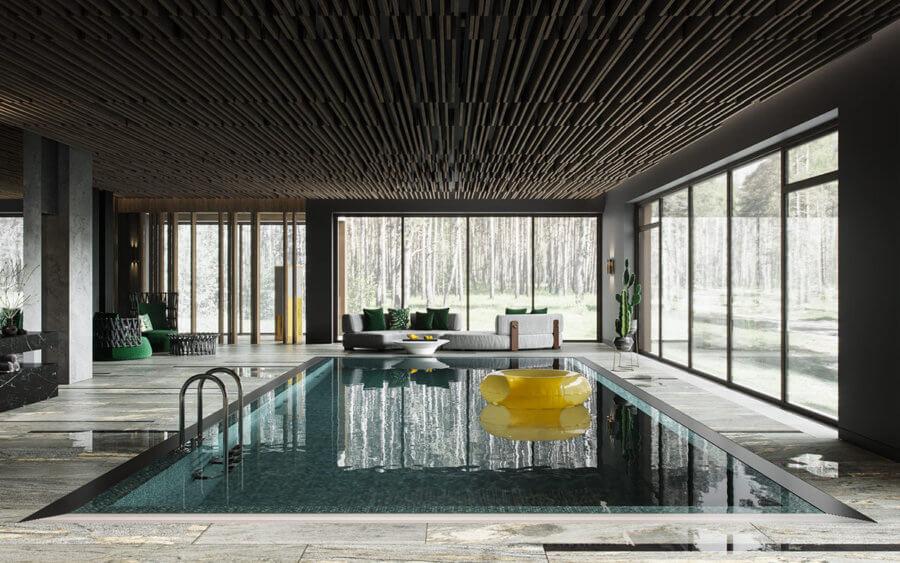 1階のツアーは、豪華なロビーとプールハウスに加えて、2つの小さくてスタイリッシュなバスルームで締めくくられます。