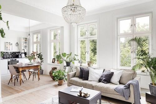 ホワイトに近いからのフローリングを貼っています。アイボリー系のソファーにグレーのクッションで合わせておりスローはライトグレーです。ダイニングテーブルは古い木材を使用しておりかなり使い込まれたものです。ダイニングチェアはシェルチェアーのホワイトを使用しています。観葉植物は空間にたくさん配置しておりナチュラルな印象です。窓もたくさんあり光がたくさん入る明るい部屋です。