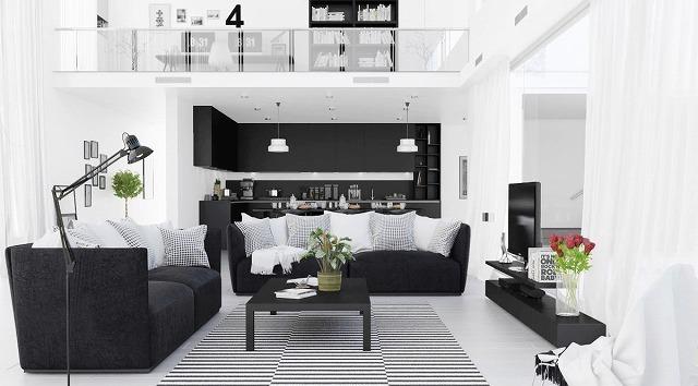 私たちのリストの最初のリビングルームは、完璧に私たちのポイントを紹介しています。それは視覚的に魅力的で洗練された色の暴動ではありません。二重高さのリビングルームは黒と白の要素に依存しています。家具は黒ですが、壁は素朴な白です。模様付きの敷物と枕は部屋にディメンションを加え、白いラインが散りばめられているので、美しい部屋ができます。