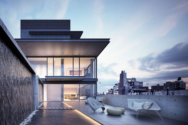 安藤忠雄が設計した建物は、この主張に完全に従います。特定のハイライトは、家の壁のほぼ完全な規模の植生である、成長が後退することでしょう。それとは別に、マスターは典型的なように、住宅は露出したコンクリートだけでなく、非常に大きなガラスの窓にも印象的です。
