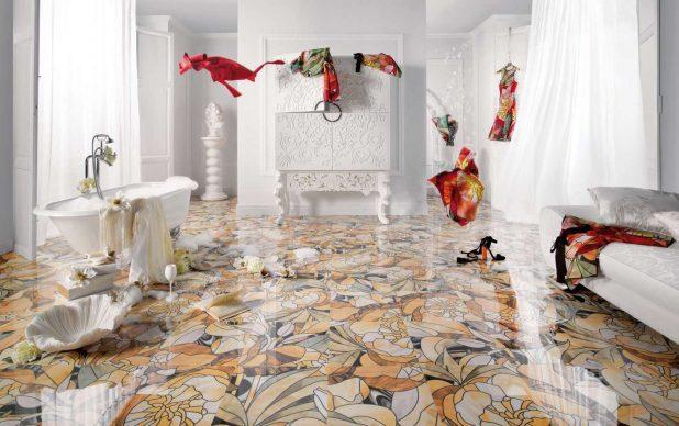 かなり個性的な床ですね。柄をランダムで使うことで空間に動きが生まれます。この画像は少しアート感覚で作られている空間だと思われます。