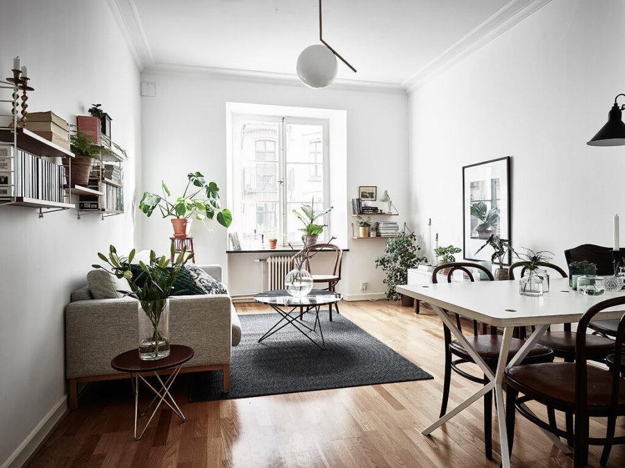 明るい床にベージュ系のソファーでダークグレーのラグマットがポイントで引き締めています。観葉植物は小さめのものをたくさん置いてアクセントにしています。背の低い家具を置いて空間を広く見せている。