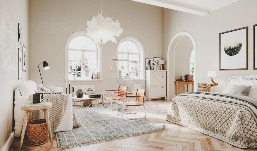 空間はすべて白を基調としていますが床は明るめのナチュラルカラーでヘリンボーン柄になっています。かなり女性向けのインテリアの仕上げになっています。扉の形も個性的で少しかわいいイメージです。リビングチェアはキャメルレザーを使用してインテリアにフィットしています。