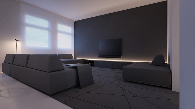 アクセントの壁を忘れて、この部屋は真正なアクセントのフロアを持っています!進行中の灰色のテーマとLED照明を組み合わせると、部屋はそれほど光り輝く必要がない驚異的なデザインです。